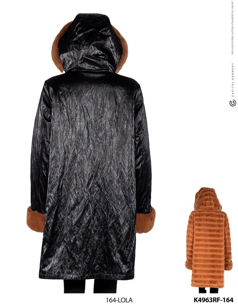 Reversible Black Metallic and Camel Faux Fur Coat