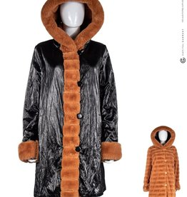 Reversible Black Metallic and Camel Faux Fur Coat