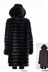 Reversible Black Polyester and Black Faux Fur Coat