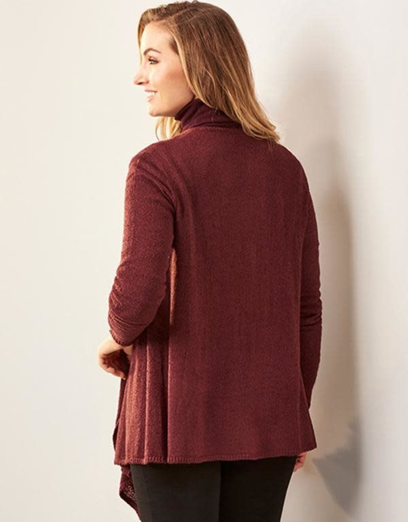 Charlie Paige Lightweight Knit Sweater Cardy in Wine