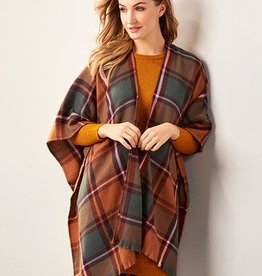 Charlie Paige Woven Multi Plaid Country Shawl