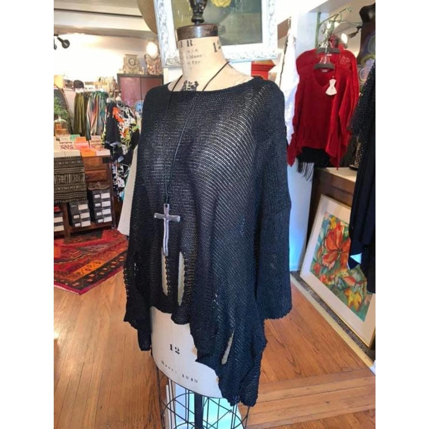 Holey Moley Sweater Fine Gauge O/S Black