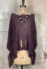 Holey Moley Sweater Fine Gauge O/S Dk Plum