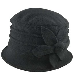 Hat Stack Black Polar Fleece Brim Cap w/ Flower