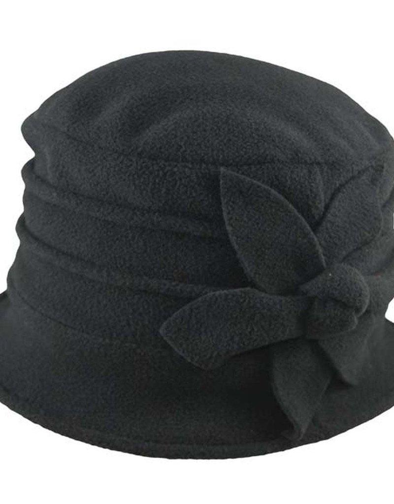 Black Polar Fleece Brim Cap w/ Flower