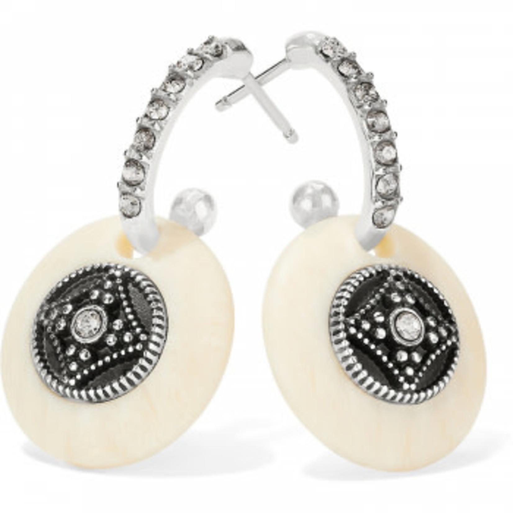 Brighton Free Spirit Hoop Drop Earrings Silver-Ivory