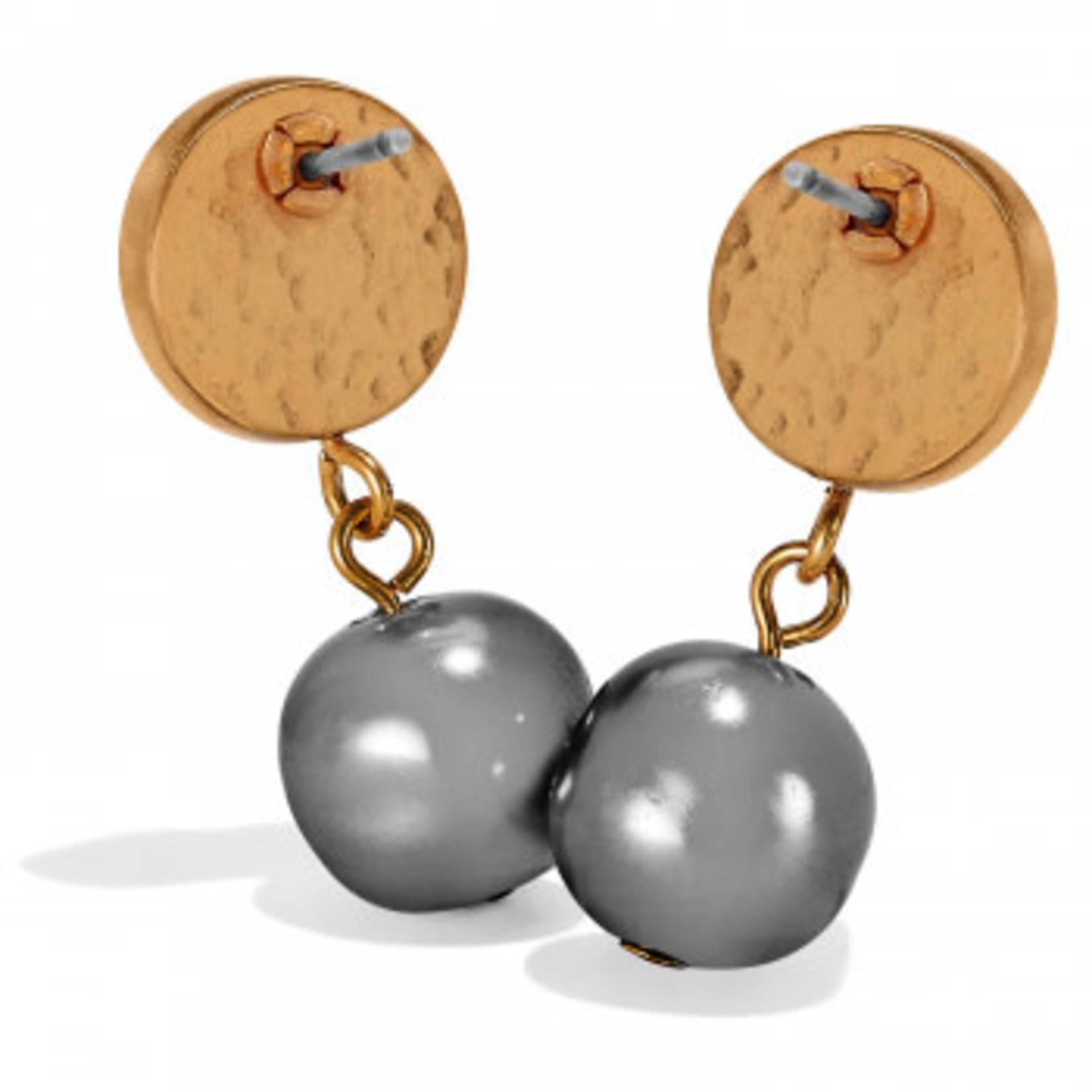 Brighton Mediterranean Gray Pearl Post Drop Earrings Gray