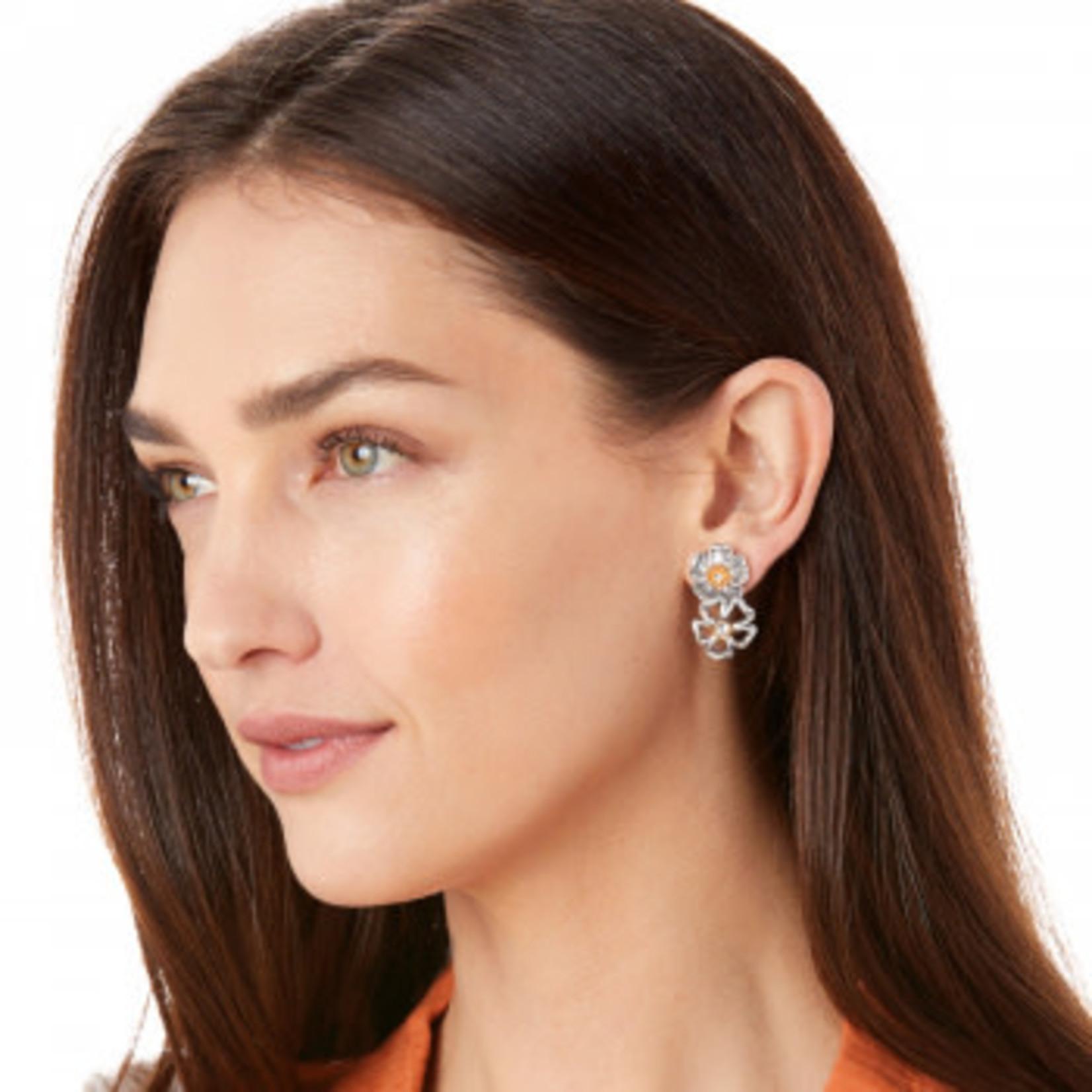 Brighton Lux Garden Post Drop Earrings Silver-Gold OS