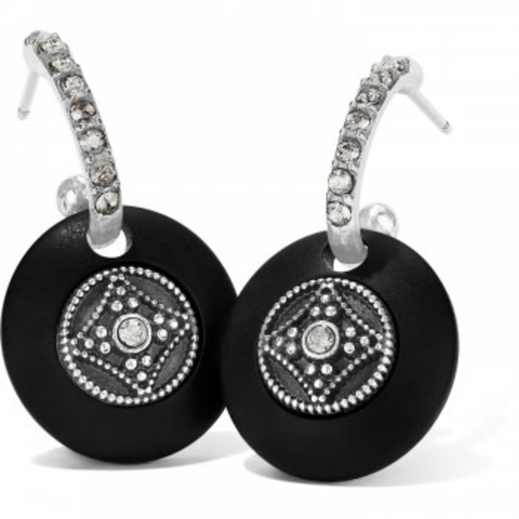 Brighton Free Spirit Hoop Drop Earrings Silver-Black
