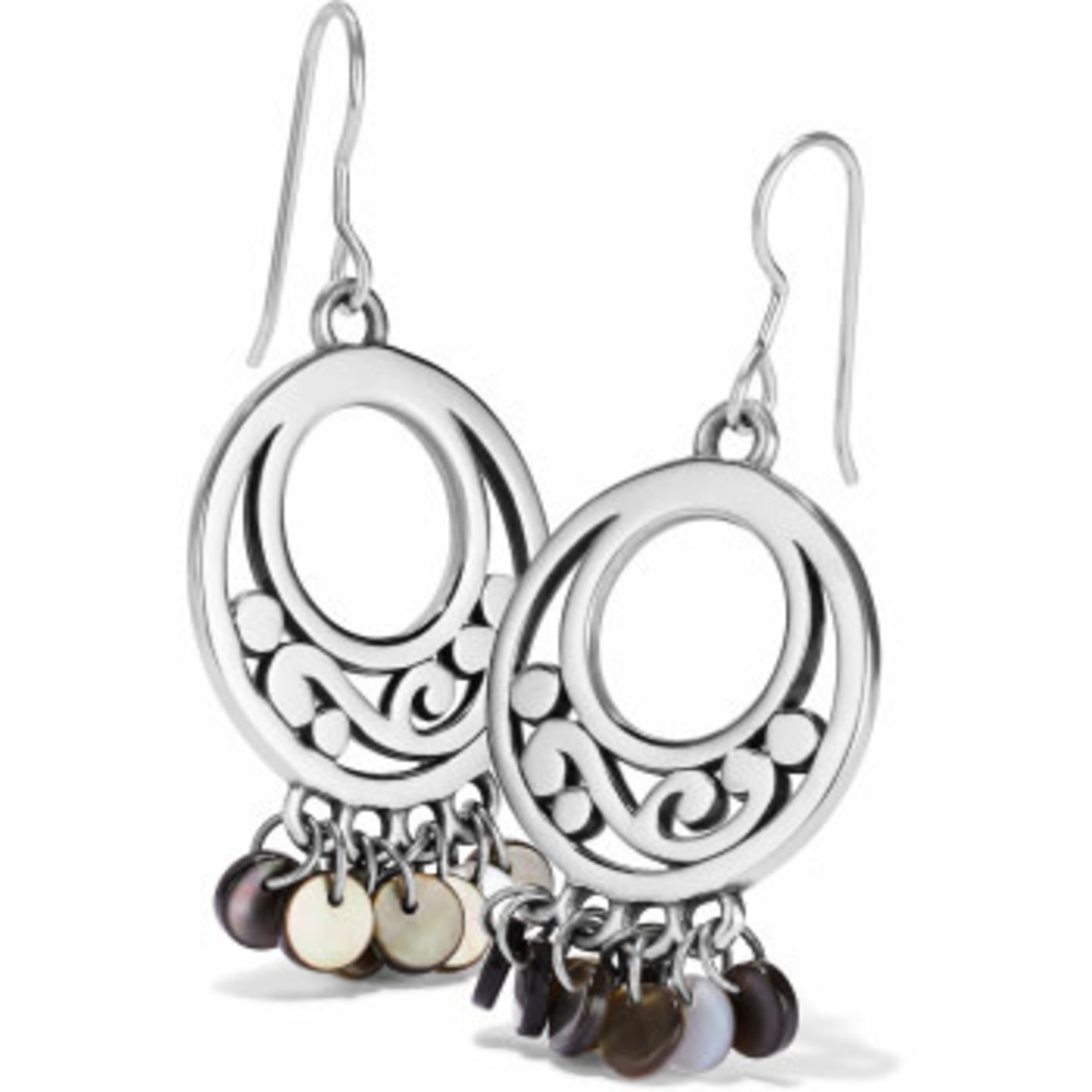 Brighton Contempo Shell French Wire Earrings Silver-Black