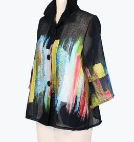 Damee Jacket/ButtonUp/ColorfulBrushStroke/AdjCollar