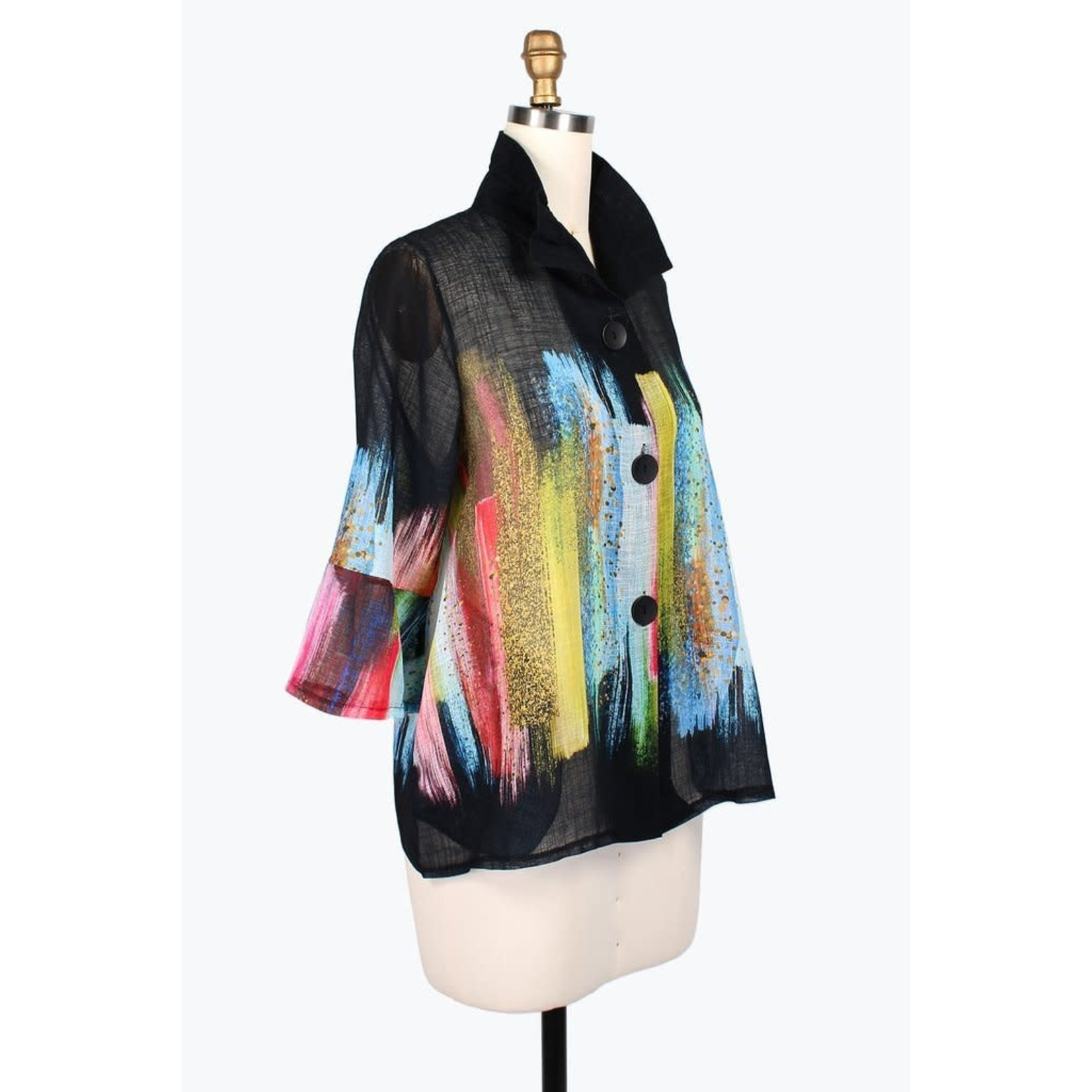 Damee Jacket/ButtonUp/ColorfulBrushStroke/AdjCollar