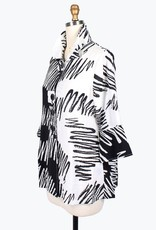 Damee Scribbles Black & White 3/4 Sleeve Wired Collar Jacket