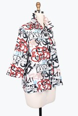 Damee White Grafitti Print Jacket w/Adjustable Collar