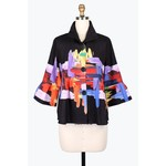 Damee Short Black & Multi Color Jacket w/Adjustable Collar
