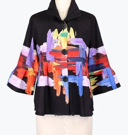 Damee Short Black & Multi Color Jacket w/Adjustable Collar