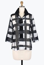 Damee Black & White Checkered Sheer Jacket w/Adjustable Collar