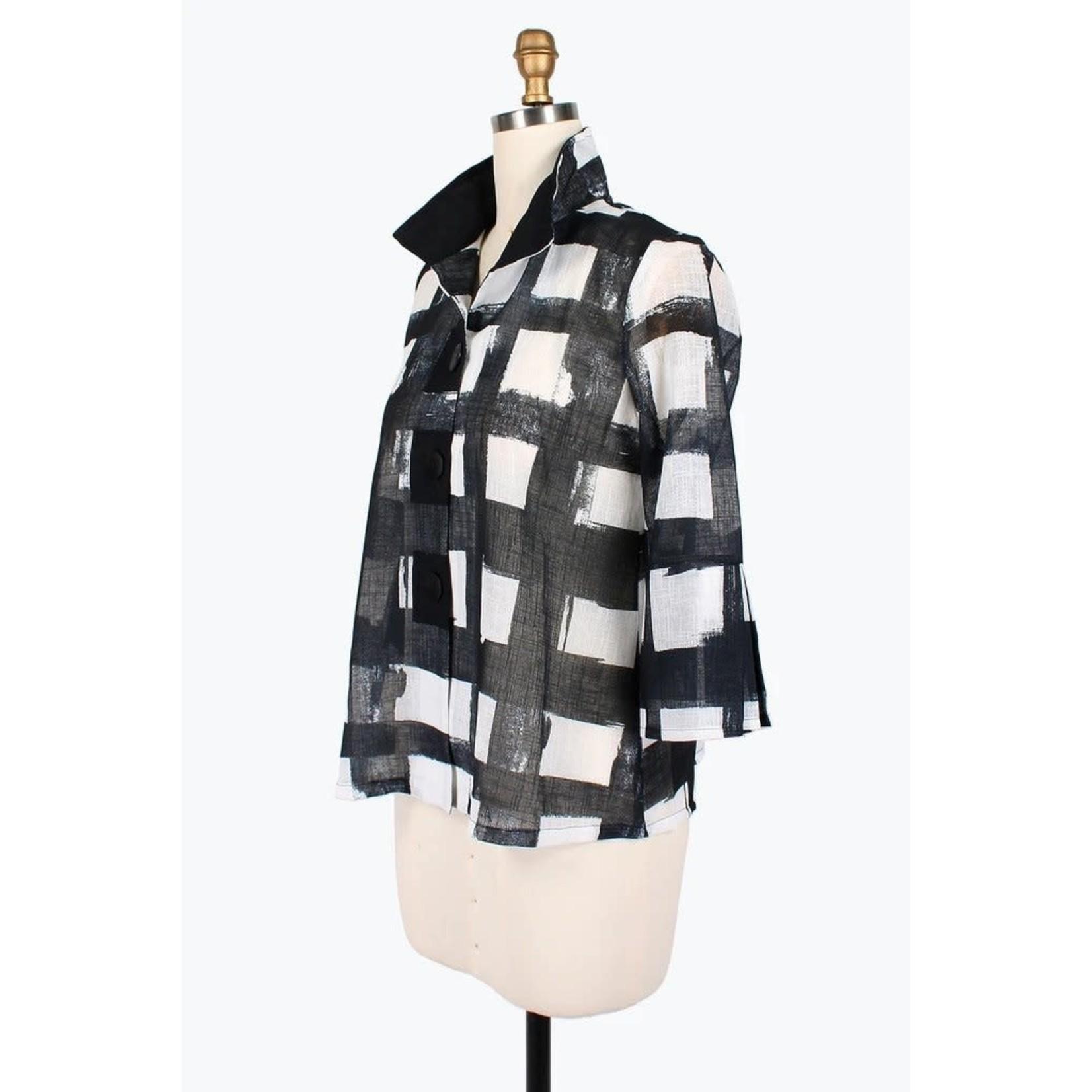 Damee Black & White Checkered Sheer Jacket w/Adjustable Collar