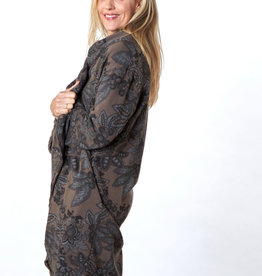 Bryn Walker Wrap Coat in Dark Taupe and Grey Print Fleece w/ Shawl Collar