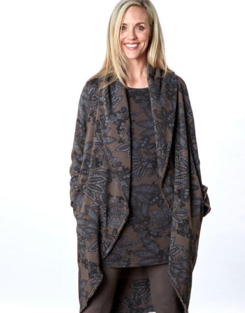 Bryn Walker Wrap Coat in Dark Taupe and Grey Print Fleece w/ Shawl Collar