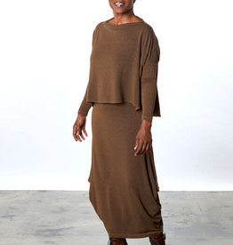 Bryn Walker Hamish Brown Herringbone Maxi Skirt w/ Flared Tulip Silhouette