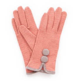 Powder Christabel Wool Gloves w/ Pom Poms - Blush