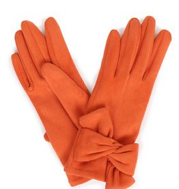 Powder Henrietta Faux Suede Gloves w/ Twist Trim - Tangerine