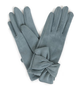 Powder Henrietta Faux Suede Gloves w/ Twist Trim - Denim