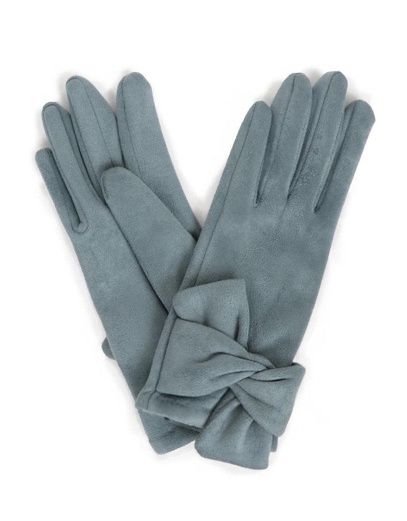 Powder Henrietta Faux Suede Gloves w/ Twist Trim - Denim