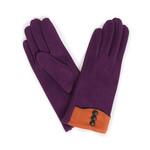 Powder Cassie Faux Suede Gloves - Purple w/ Orange Trim