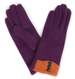 Powder Cassie Faux Suede Gloves - Purple w/ Orange Trim