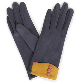 Powder Cassie Faux Suede Gloves - Charcoal w/ Mustard Trim