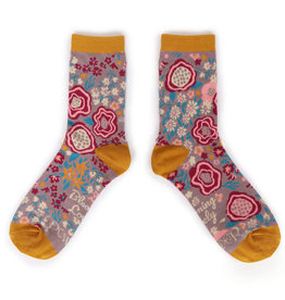 Powder Ladies Ankle Socks Abstract Floral Lilac