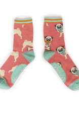 Powder Ladies Ankle Socks - Cozy Pug