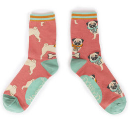 Powder Ladies Ankle Socks - Cozy Pug