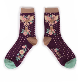 Powder Ladies Ankle Socks - Floral Deer