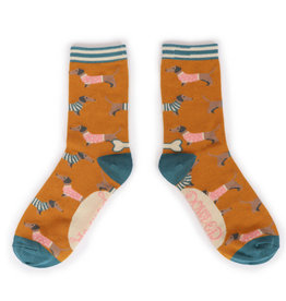 Powder Ladies Ankle Socks - Jumper Sausage Dog