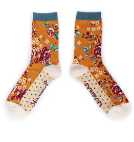 Powder Ladies Ankle Socks - Rosebud Mustard