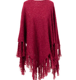 Powder Tara Knit Poncho w/ Fringe - Berry