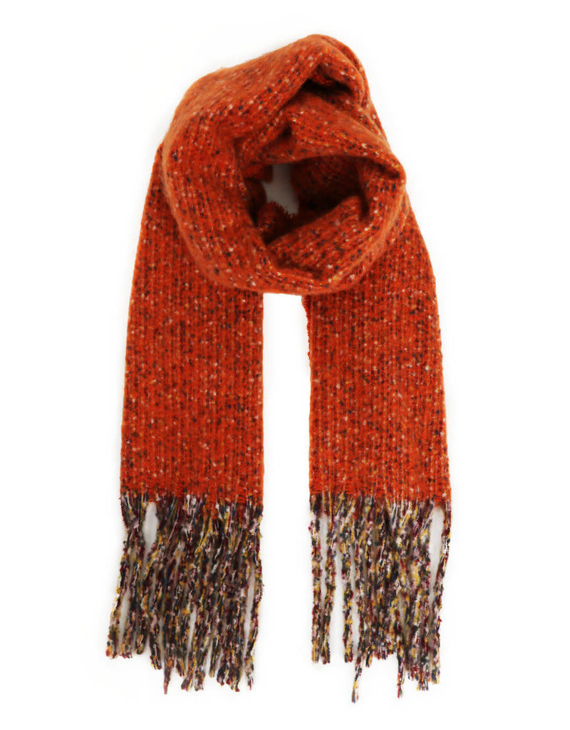 Powder 100% Polyester Scarf w/ Multi-Color Tassles - Tangerine
