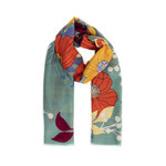 Powder Moss Print Scarf in Autumn Floral