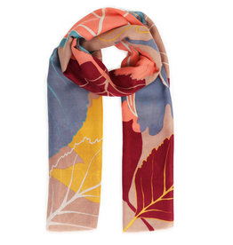 Powder Tan Print Scarf in Autumn Leaves