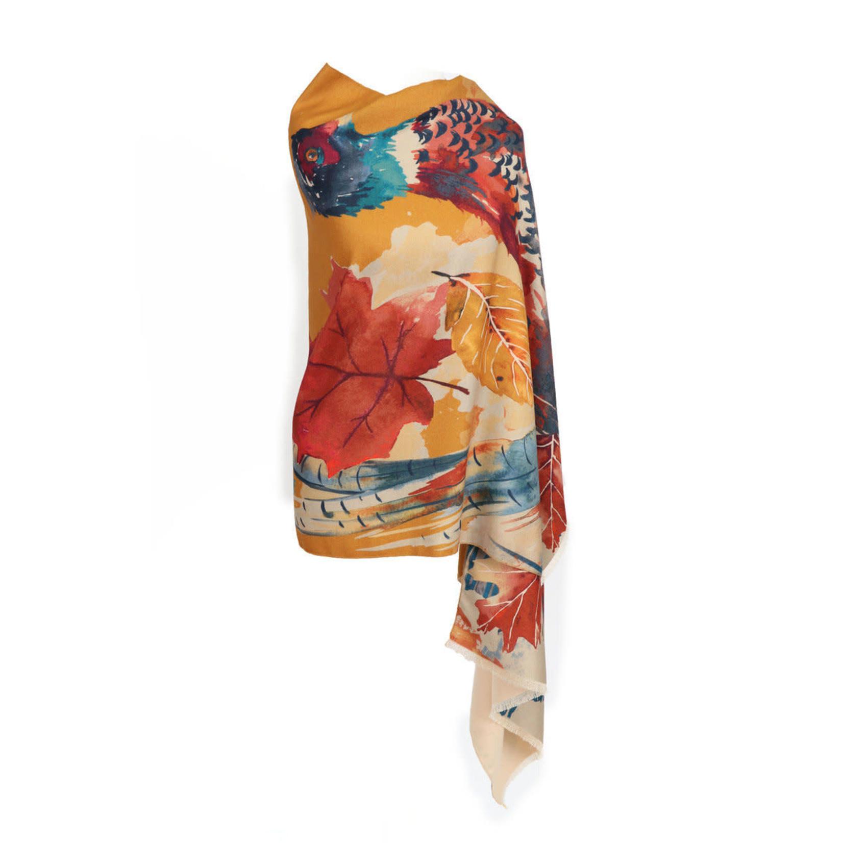 Powder Watercolor Print Pheasant Scarf/Wrap - Mustard