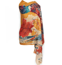 Powder Watercolor Print Pheasant Scarf/Wrap - Mustard