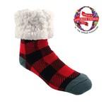 Classic Slipper Socks w/ White Fuzzy Cuff - Lumberjack Red