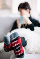 Pudus Classic Slipper Socks w/ White Fuzzy Cuff - Lumberjack Red