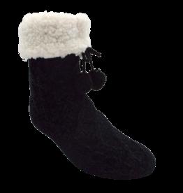 Pudus Chenille Cable Knit Slipper Socks - Black