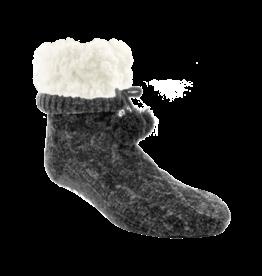 Pudus Chenille Cable Knit Slipper Socks - Grey w/ White Fuzzy Cuff