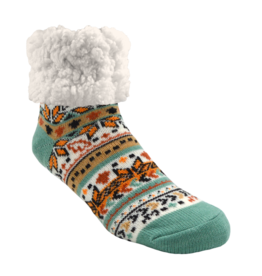 Pudus Classic Slipper Socks w/ White Fuzzy Cuff - Autumn Geometric