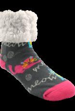 Pudus Classic Slipper Socks w/ White Fuzzy Cuff - Cat's Meow